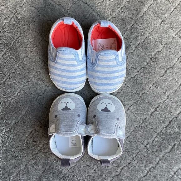 Grey 0-3 Months Carters Baby Girl Soft Sole Faux Sherpa Sneakers